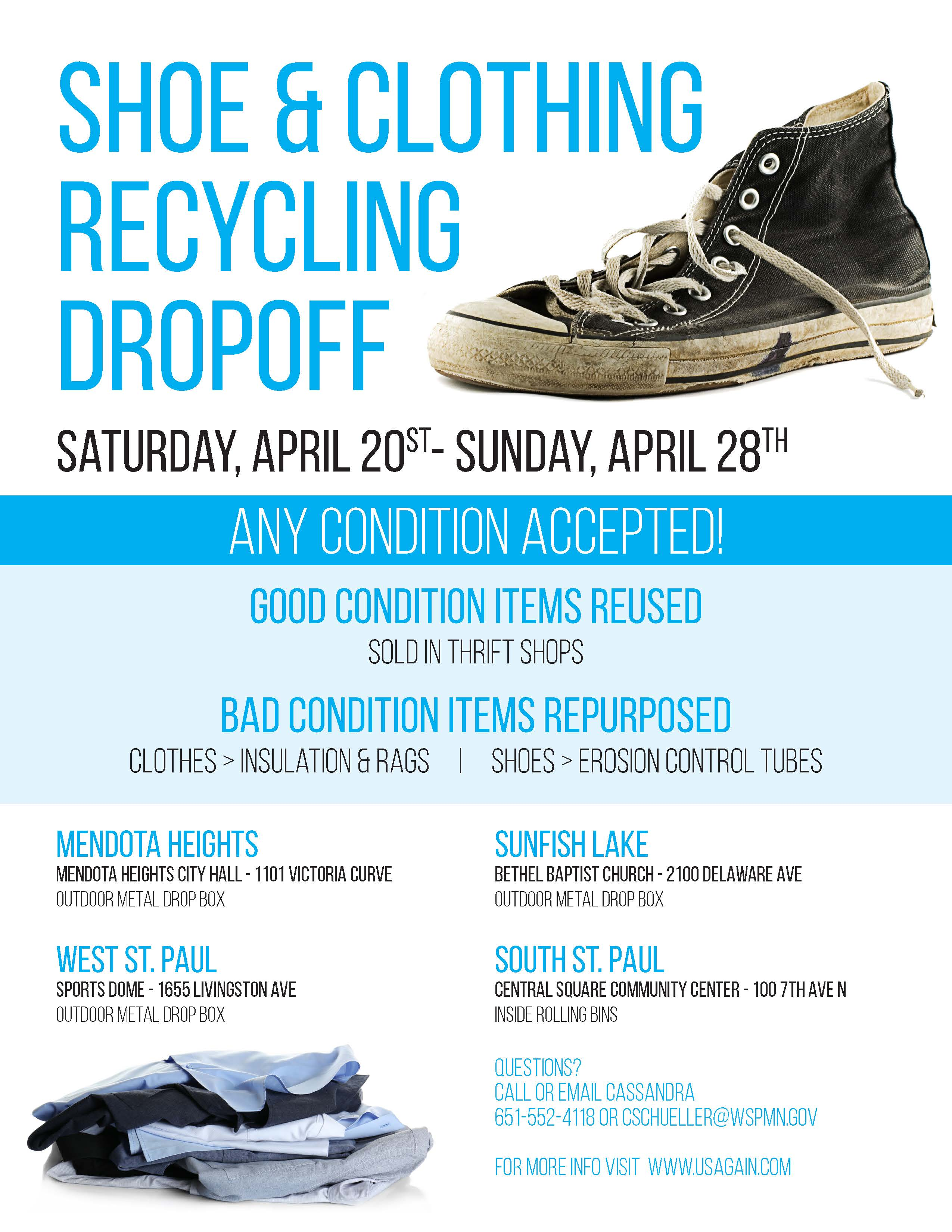 Shoe and Clothing Recycling Dropoff 2019 Flyer picture
