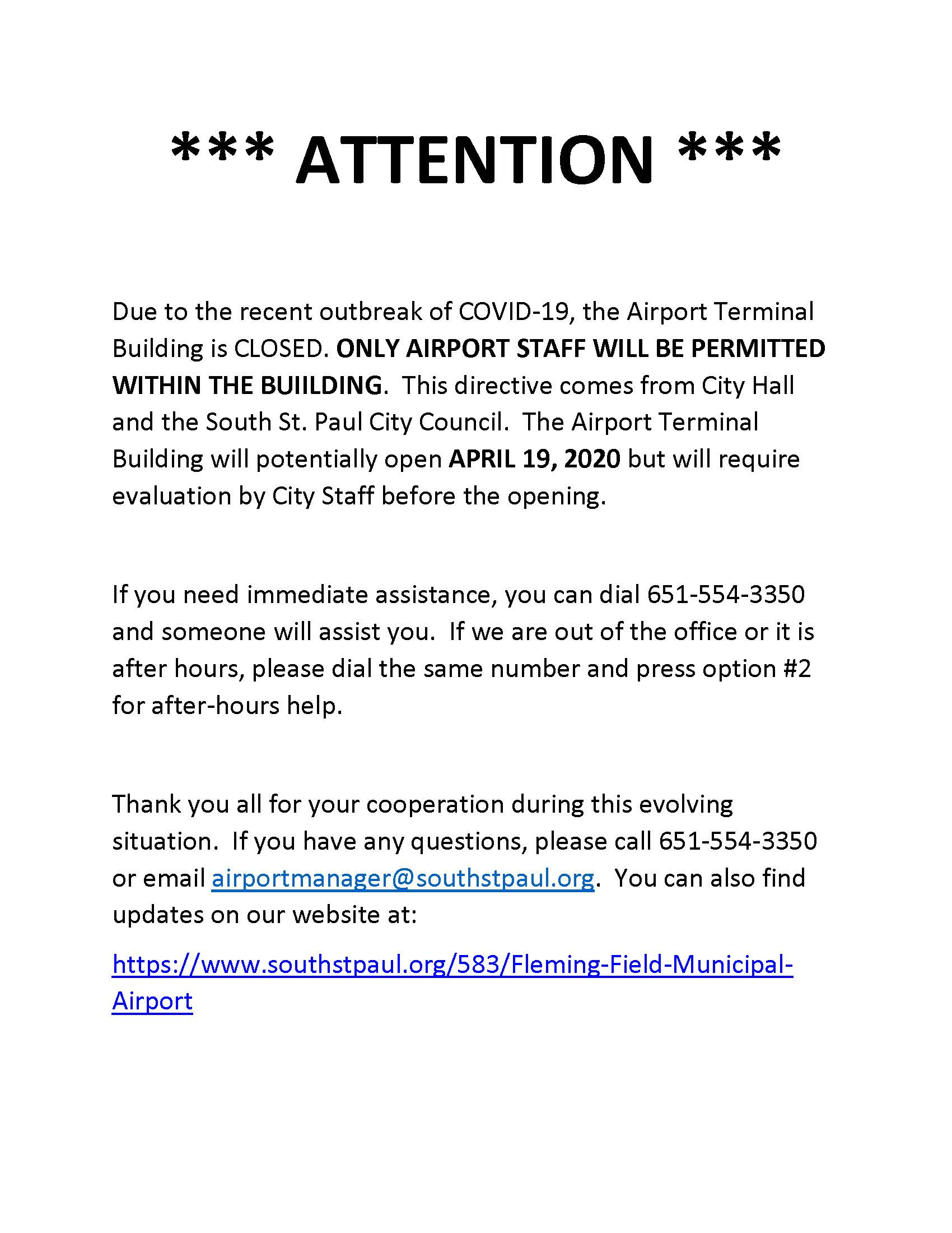 COVID-19 Terminal Closure Updated